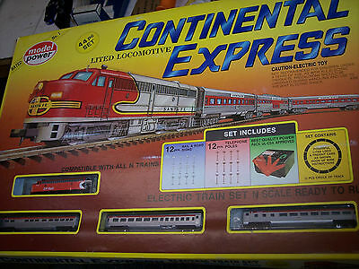 N Scale Continental Exress  Train Set  By Model Power  45 Pc Lited Loco # 1151Cp