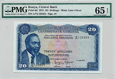 Kenya, Central Bank 1973 Pick 8d, 20 Shillings - PMG 65 EPQ - Gem Uncirculated