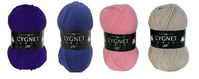 CYGNET DK WOOL 100g ACRYLIC DOUBLE KNIT KNITTING CROCHET YARN 63 SHADES FREE P&P