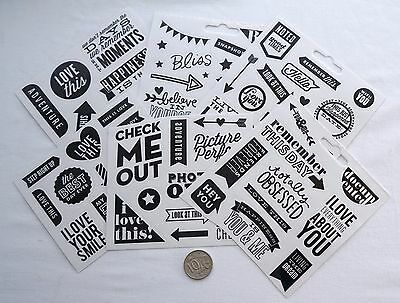 Scrapbooking No 477 - 60 Plus Black Saying Stickers Mixed Pack