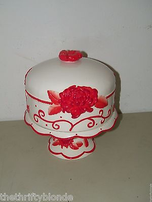 M Studios Red White FLoral Cake Stand w/ Dome Ceramic Flower 16933