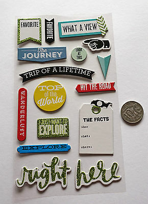 Scrapbooking No 064 - 15 Piece Chipboard Travel Themed Stickers