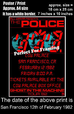 The Police live concert San Francisco 12th of February 1982 A4 size poster print