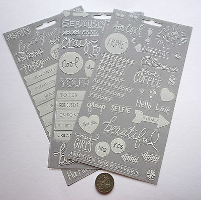 Scrapbooking No 469 - 50 Plus White Saying Stickers Mixed Pack