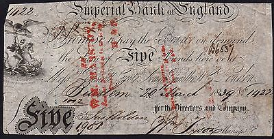 1839 IMPERIAL BANK OF ENGLAND £5 BANKNOTE - BURSLEM * 1422 * F+ * Outing 369a *