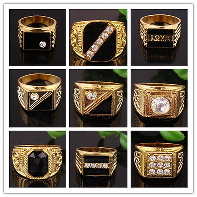 Hot Sale Fashion 18K Gold Plated Rhinestone Men's Jewelry Gold Mens rings