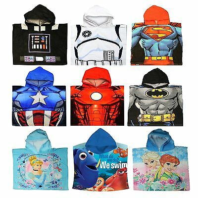 Childrens Kids Disney Superheroes Character Hooded Poncho Beach Bath Swim Towel