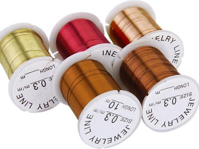 10 Spools Mix Color Copper Wire Beading Jewelry DIY String Thread Cord 0.3mm 10M