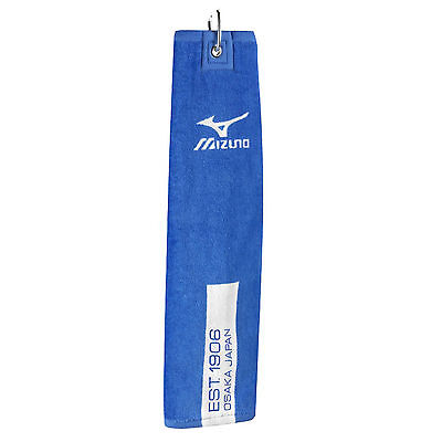 "MIZUNO Tri-Fold Tour Cart Towel 16"" x 21"" Blue With Swivel Clip Attached"
