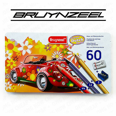 Bruynzeel Colouring Pencils - 60 Piece Metal Tin - With 12 Metallic Colours