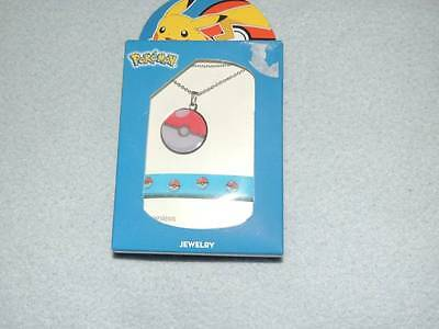 Pokemon Pokeball Charm Necklace Set New!