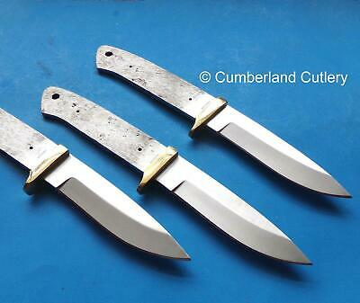 Lot of 3 Knife Making Blade Blanks with Brass Finger Guards - Hunting Skinning