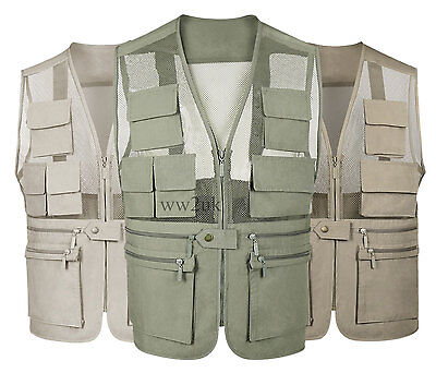 Fly Fishing Vest  Multi Pockets  Casual Tactical Hunting Men Waistcoat Clothing