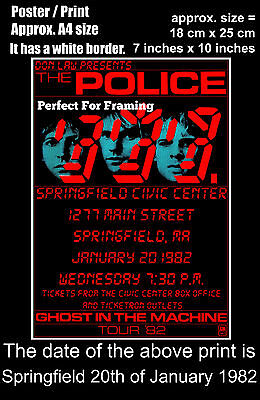 The Police live concert Springfield Civic 20th January 1982 A4 size poster print