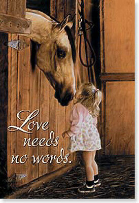 LEANIN TREE Love Needs No Words #25714~Fridge Magnet~Little Girl with Horse~