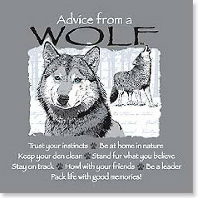 "LEANIN TREE ""Advice From A Wolf"" Magnet #26331~Keep Your Den Clean~Be A Leader~"