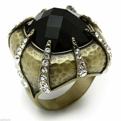 Jet Black Domed Stone Antique Copper Plated Ladies Retro Ring Size 7-8