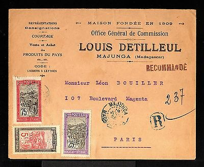 9062-MADAGASCAR-REGISTERED COVER MAJUNGA to PARIS (france) 1926.French colonies.