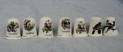 Lot of Seven Bird Thimbles mostly Finches Fine Bone China Porcelain LadyWe