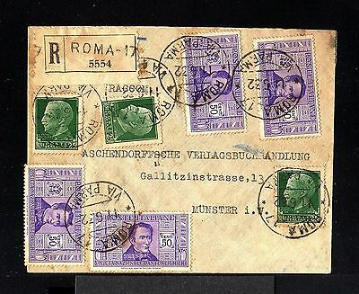 9058-ITALY-REGISTERED COVER ROMA to MUNSTER(germany)1932.WWII.Busta Raccomandata