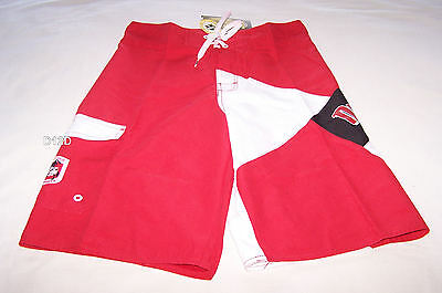 St George Illawarra Dragons NRL Boys Red White Printed Board Shorts Size 16 New