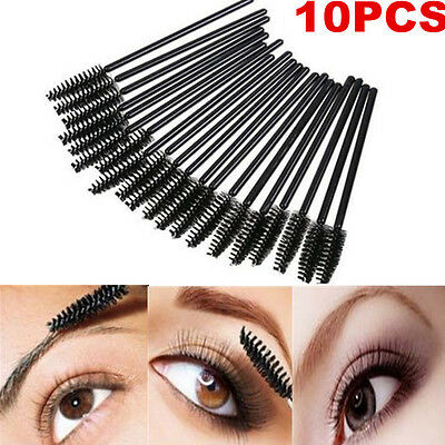 New 10Pcs Oblique Design Rotate Eyebrow Brush Cosmetic Brow Brush Makeup Tool