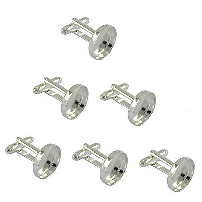 6pcs Silver Plated Blank Cuff Link Setting Base Pad Cabochon Jewelry Finding
