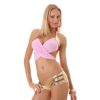Sexy Wickel-Top Clubwear Gogo Rosa/gold 34/36/38 #t1108