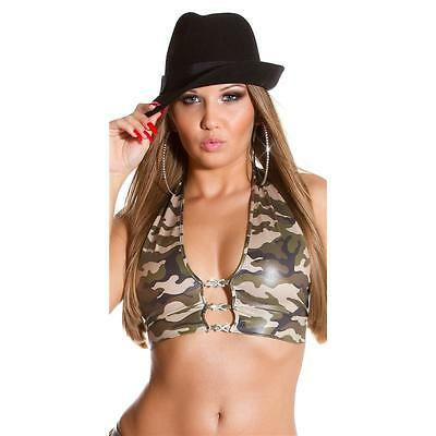 Sexy Top In Army Look Mit Strass Gogo Clubwear Olivgrün 34/36/38 #t1098
