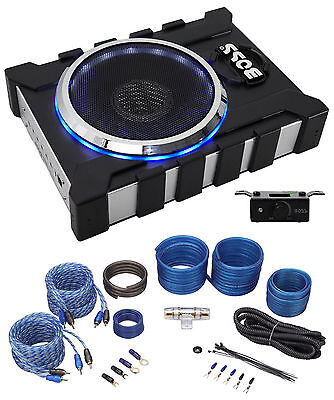"Boss BASS1300.3 8"" 1300 Watt Slim/Low Profile Powered Subwoofer Sub+Amp Kit"