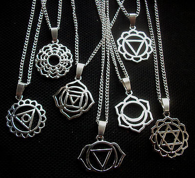 Chakra Symbol Pendant Necklace Silver Tone on 18 Inch Chain