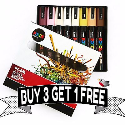 POSCA Colouring - PC-5M Skin Tone - Set of 8 - In Gift Box - *BUY 3 GET 1 FREE*