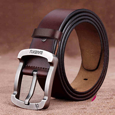 Luxury Men's Genuine Real Leather Cowhide Waistband Waist Strap Pin Alloy Buckle