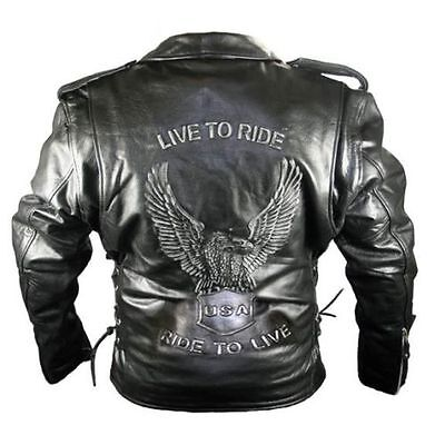 Xelement Mens Real Leather Black Harley Style Eagle Motorcycle Jacket (S-5XL)