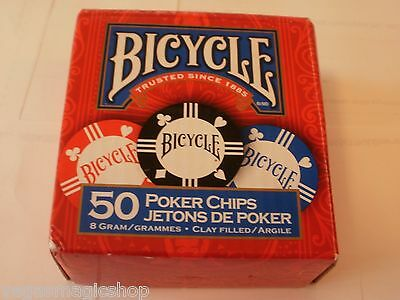 Poker Chips -50 Count -8 Gram Clay -3 Values -Bicycle Brand -Tournament Quality