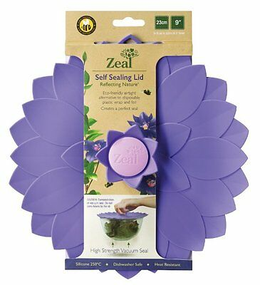 Zeal Reflecting Nature CLEMATIS FLOWER LID 23cm PURPLE Silicone Pot Bowl Cover