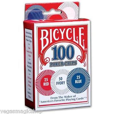 Poker Chips -100 Count  -3 Values -Bicycle Branded -Durable Washable Plastic New