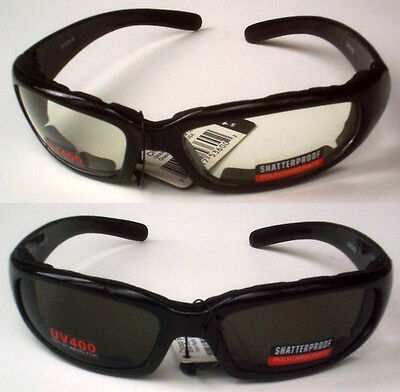 Motorcycle Riding Glasses 2 Pair Day & Night Padded Sunglasses Clear & Smoke