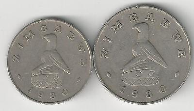 2 DIFFERENT COINS from ZIMBABWE - 10 & 20 CENTS (BOTH DATING 1980)