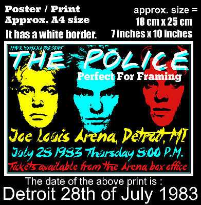 The Police live concert Joe Louis Detroit 28th of July 1983 A4 size poster print