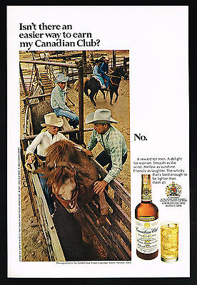 1969 Woman Horse Bronco Rider Jauregui Ranch Canadian Club Whisky Print Ad