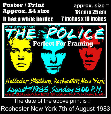 The Police live concert Rochester New York 7th August 1983 A4 size poster print