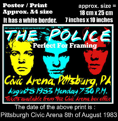 The Police live concert Pittsburgh Civic 8th of August 1983 A4 size poster print