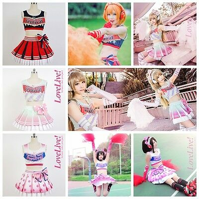 Love Live! Cheerleader Cosplay Costume Uniform Outfit Cheer Dress New