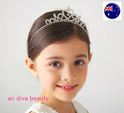 Girl Kids Bridemaid Heart ballerina Crown Princess Crystal Tiara Hair Headband