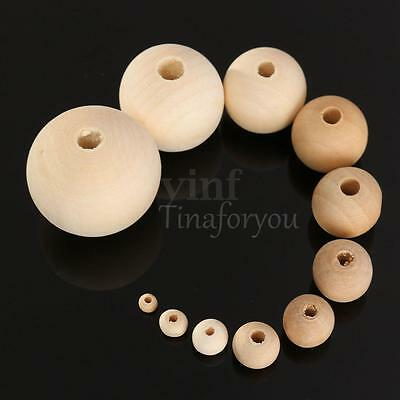 10X Rondell Round Wood Bead Spacer Natural Unfinished Wooden Necklace 4-30mm
