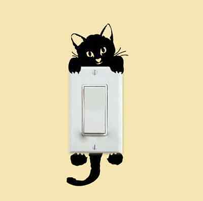 Creative Black Cat Home Light Switch Decor Decal Vinyl Mural Art Wall Sticker