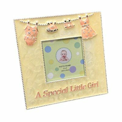 Baby Girl Picture Photo Frame Enamel Silver Special Little Metal 3 by 3 Yellow