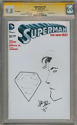 Superman #32 Blank Cgc 9.8 Signature Series Signed John Romita Jr Sketch Movie