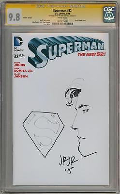 Superman #34 Cgc 9.8 Signature Series Signed John Romita Jr Head Sketch Movie